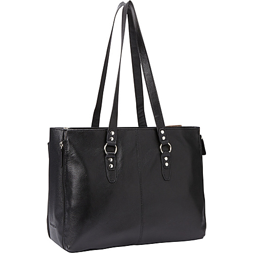 Samsonite Business Cases Leather Expandable Laptop Tote Black - Samsonite Business Cases Ladies' Business