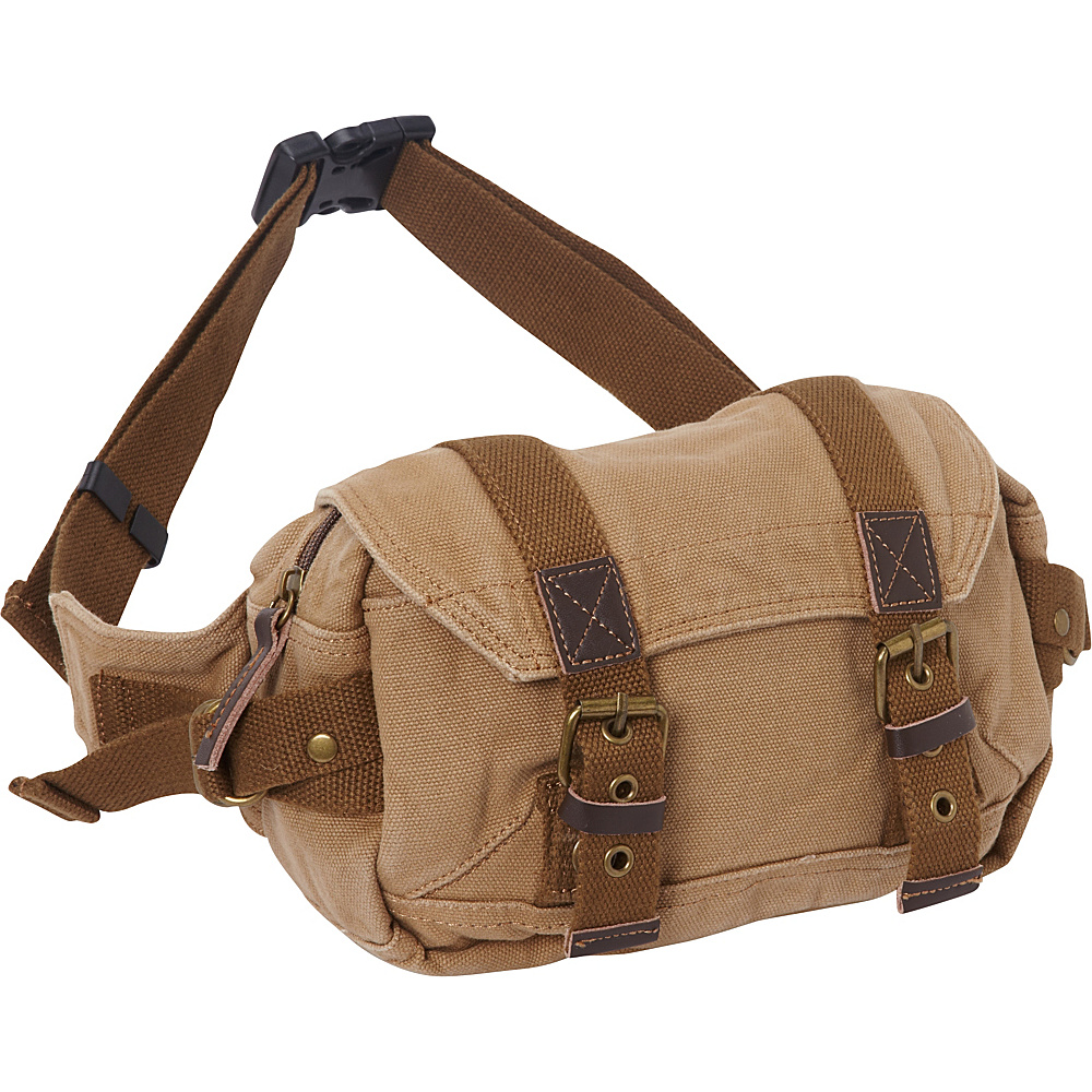 Vagabond Traveler Stylish Canvas Waist Pack Khaki - Vagabond Traveler Waist Packs - Backpacks, Waist Packs