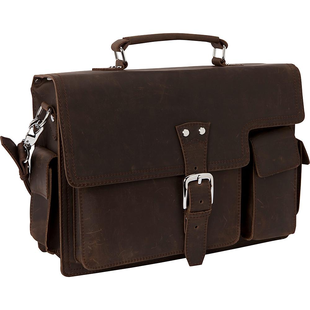 Vagabond Traveler 16 Leather Laptop Briefcase Dark Brown - Vagabond Traveler Non-Wheeled Business Cases - Work Bags & Briefcases, Non-Wheeled Business Cases