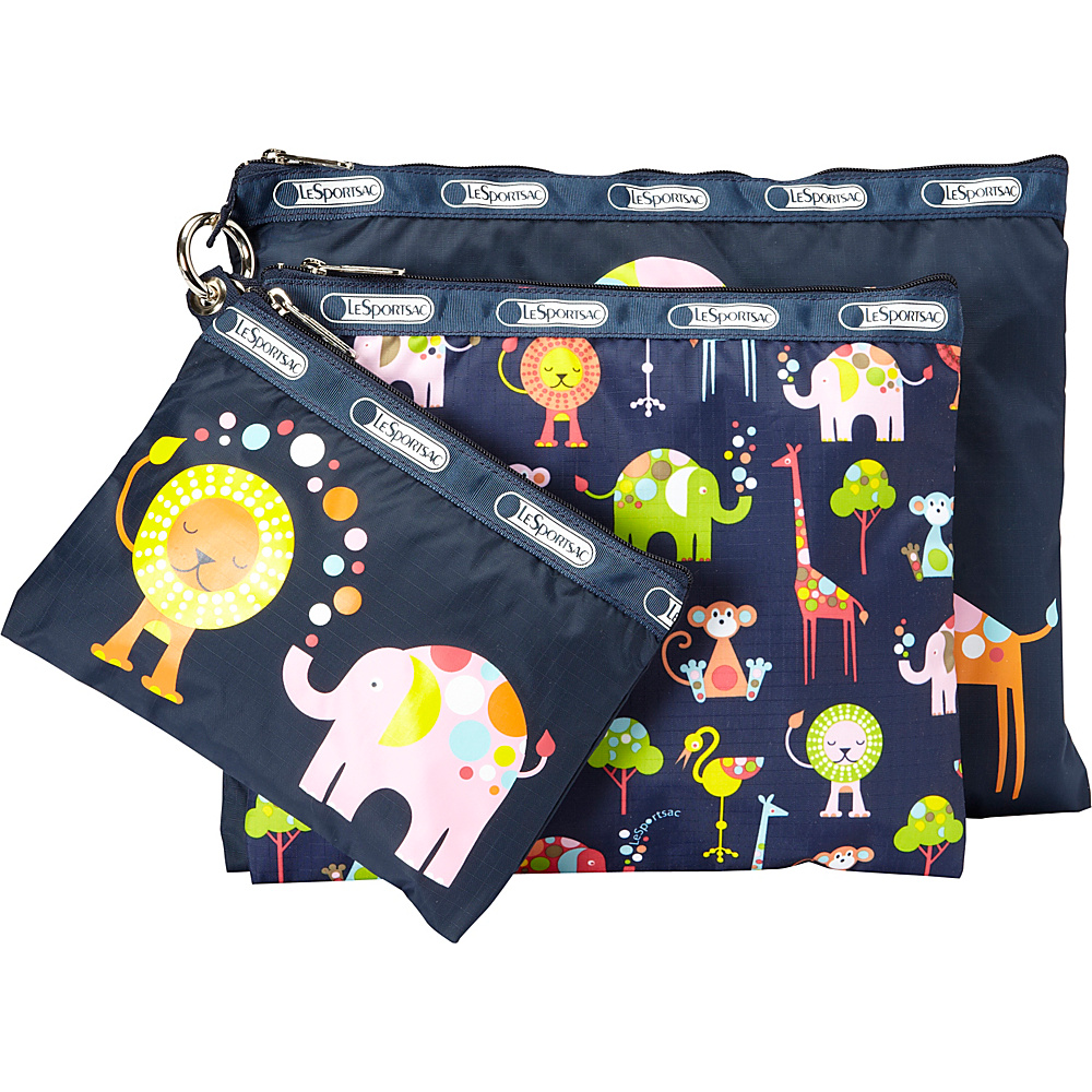 LeSportsac 3 Piece Travel Set of Packable Bags Zoo Cute 3 Pack Pouch - LeSportsac Lightweight packable expandable bags