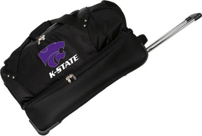 "Denco Sports Luggage NCAA Kansas State University Wildcats 27"""" Drop Bottom Wheeled Duffel Bag Black - Denco Sports Luggage Travel Duffels"