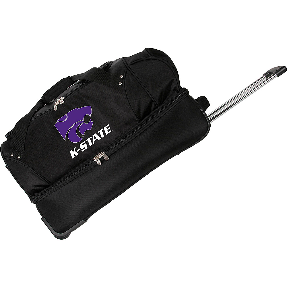 "Denco Sports Luggage NCAA Kansas State University Wildcats 27"" Drop Bottom Wheeled Duffel Bag Black - Denco Sports Luggage Travel Duffels"