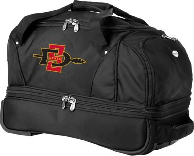 Denco Sports Luggage NCAA San Diego State University Aztecs 22 inch Drop Bottom Wheeled Duffel Bag Black - Denco Sports Luggage Travel Duffels