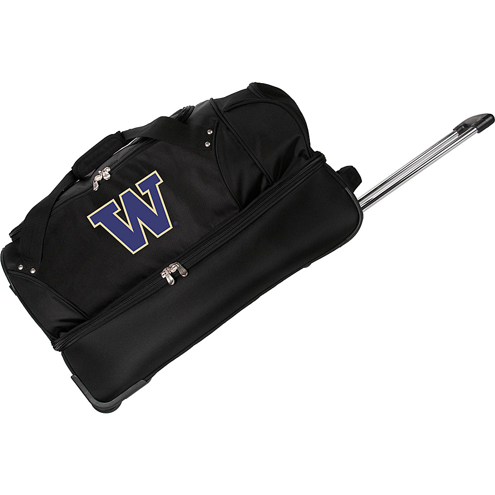 Denco Sports Luggage NCAA University of Washington Huskies 27 Drop Bottom Wheeled Duffel Bag Black - Denco Sports Luggage Travel Duffels - Luggage, Travel Duffels