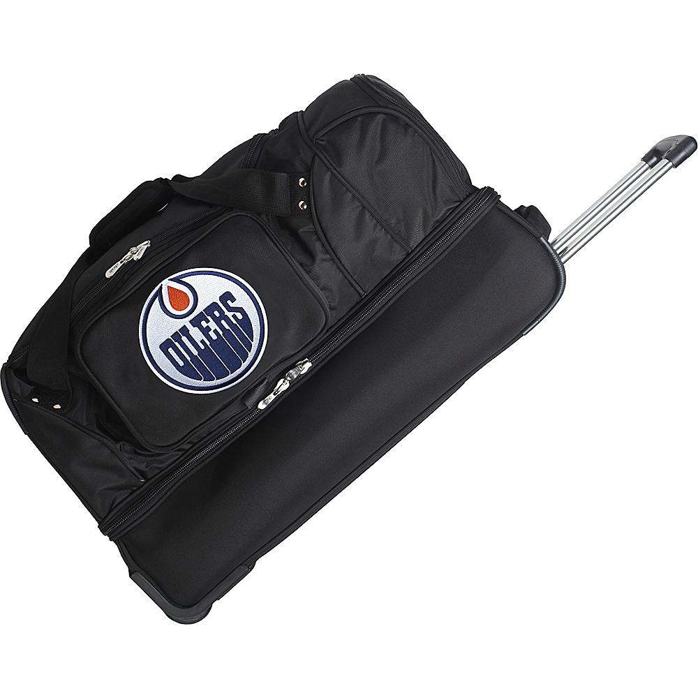 Denco Sports Luggage NHL 27 Drop Bottom Wheeled Duffel Bag Edmonton Oilers - Denco Sports Luggage Travel Duffels - Duffels, Travel Duffels