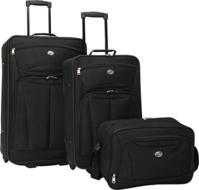 American Tourister Fieldbrook II 3-Piece Nested Luggage Set Black - American Tourister Luggage Sets