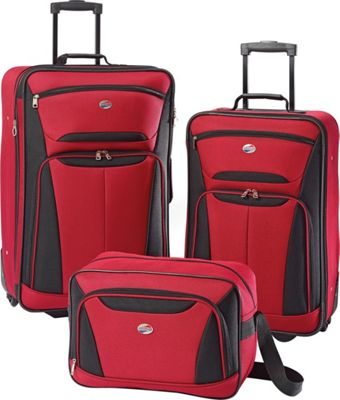 American Tourister Fieldbrook II 3-Piece Nested Luggage Set Red/Black - American Tourister Luggage Sets