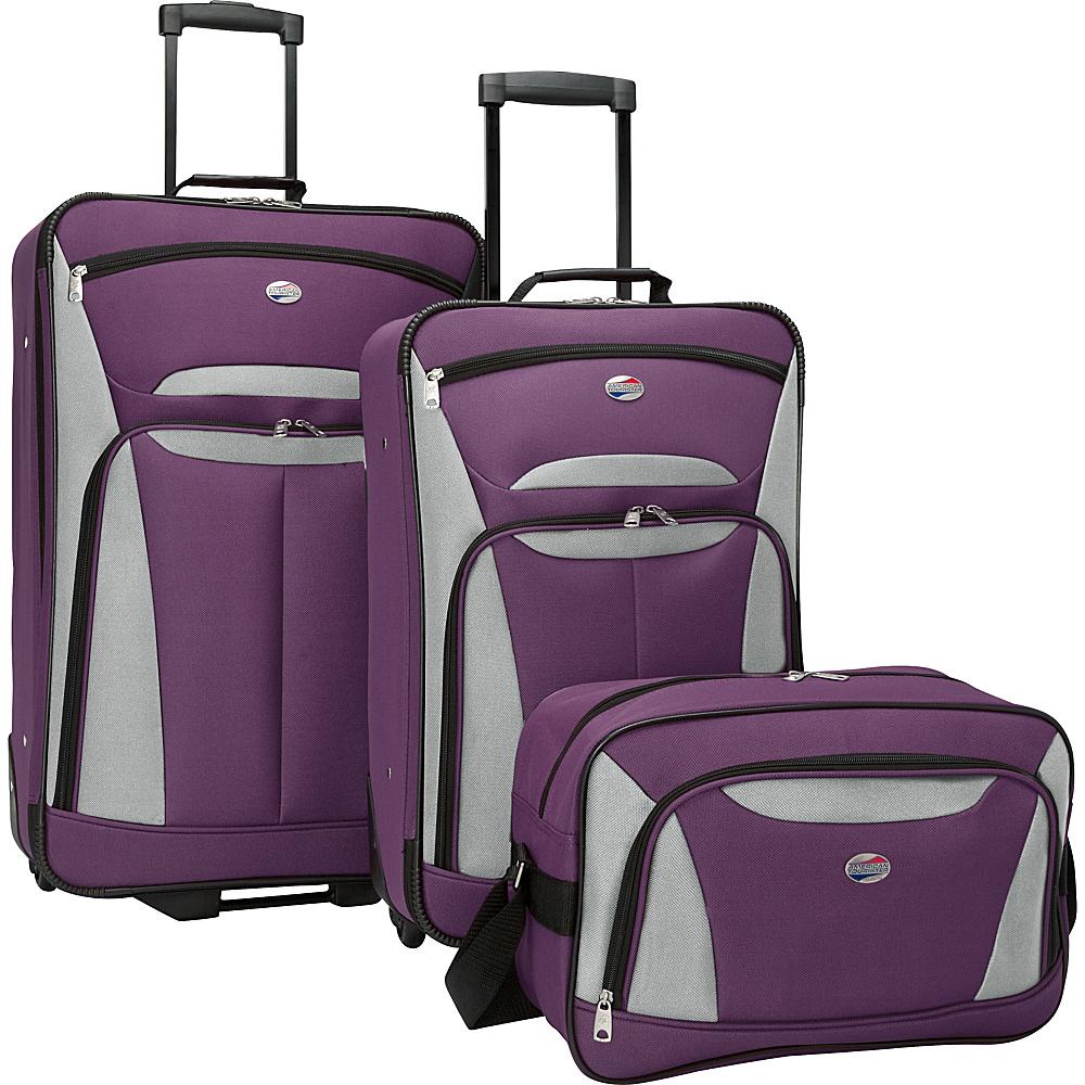 American Tourister Fieldbrook II 3 Pc Nested Luggage Set Purple Grey American Tourister Luggage Sets