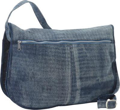 Piel Denim Messenger Portfolio Buckled Bag Denim Blue - Piel Messenger Bags