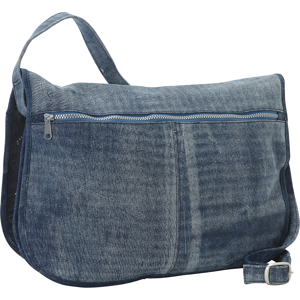 Piel Denim Messenger Portfolio Buckled Bag Denim Blue - Piel Messenger Bags - Work Bags & Briefcases, Messenger Bags