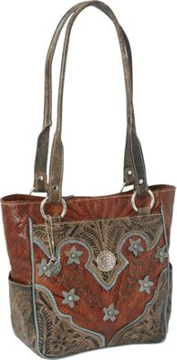 American West Desert Wildflower Zip-top Tote Antique Brown/Distressed Charcoal Brown/Sky Blue - American West Leather Handbags
