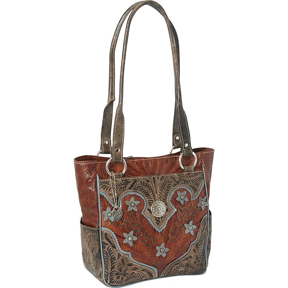 American West Desert Wildflower Zip top Tote Antique Brown Distressed Charcoal Brown Sky Blue American West Leather Handbags