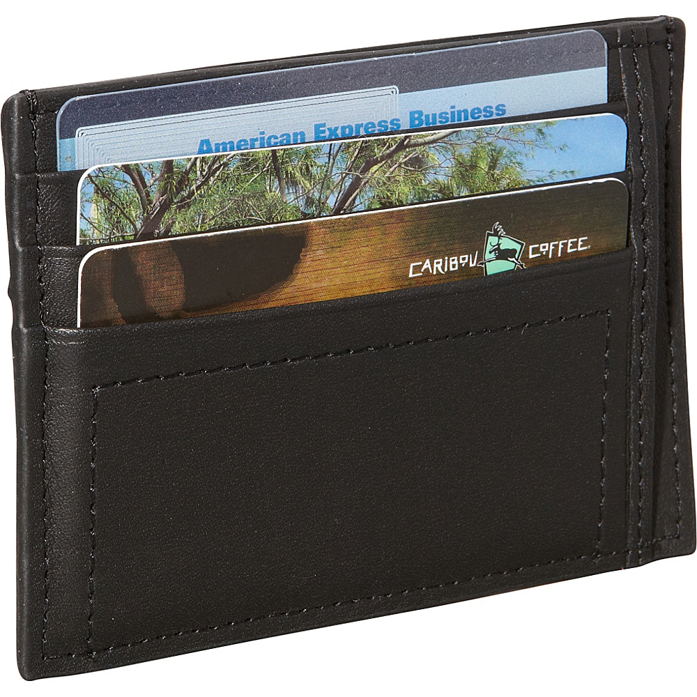 Royce Leather Nappa Prima Mens Card Case Black - Royce Leather Mens Wallets - Work Bags & Briefcases, Men's Wallets