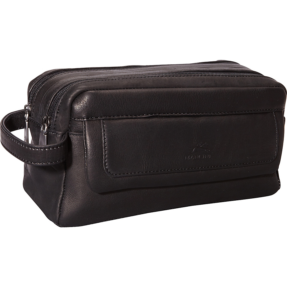 Mancini Leather Goods Colombian Leather Double Compartment Toiletry Kit Black - Mancini Leather Goods Toiletry Kits