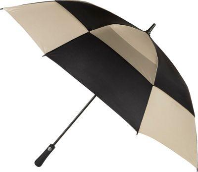 Totes Mulligan Umbrella Black/British Tan - Totes Umbrellas and Rain Gear