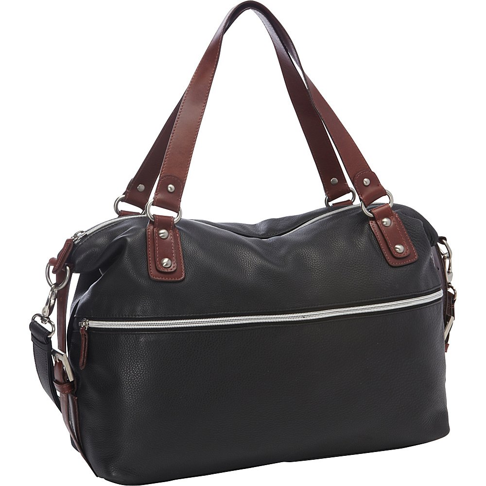 Derek Alexander Large EW Top Zip Flight Bag Black/Brandy - Derek Alexander Leather Handbags
