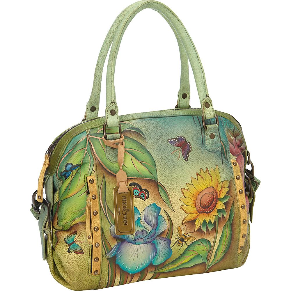 Anuschka Zip Top Medium Satchel Floral Dreams - Anuschka Leather Handbags