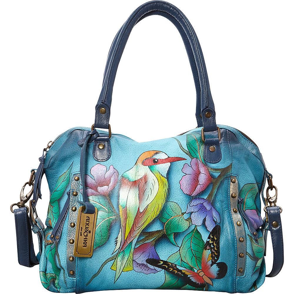 Anuschka Zip Top Medium Satchel Hawaiian Twilight - Anuschka Leather Handbags