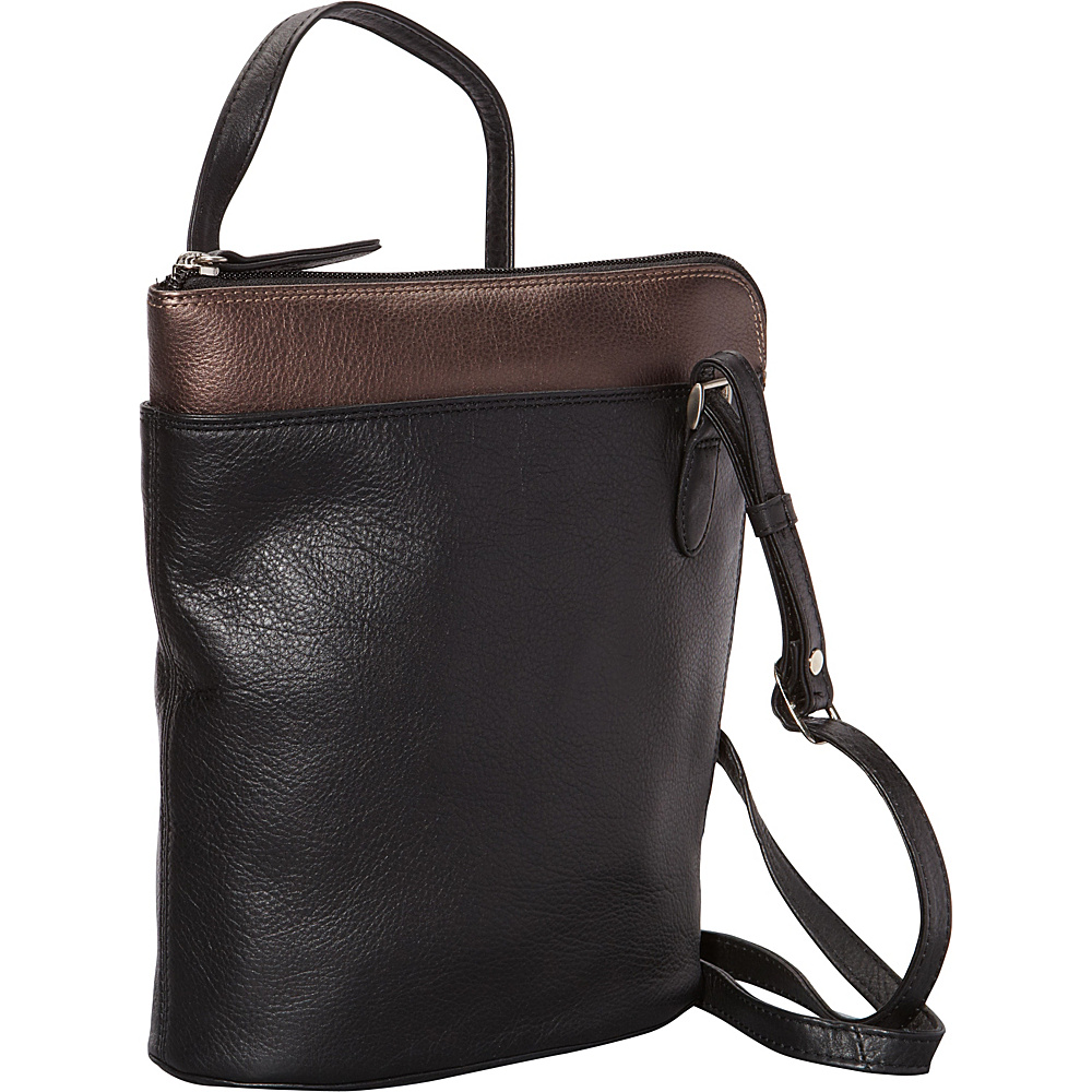 Derek Alexander Slim North South w/ Two Sided Zip Black/Bronze - Derek Alexander Leather Handbags - Handbags, Leather Handbags