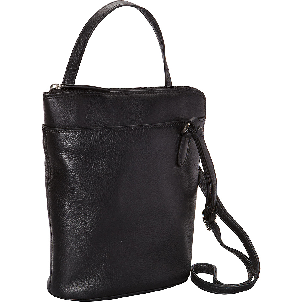 Derek Alexander Slim North South w/ Two Sided Zip Black - Derek Alexander Leather Handbags - Handbags, Leather Handbags