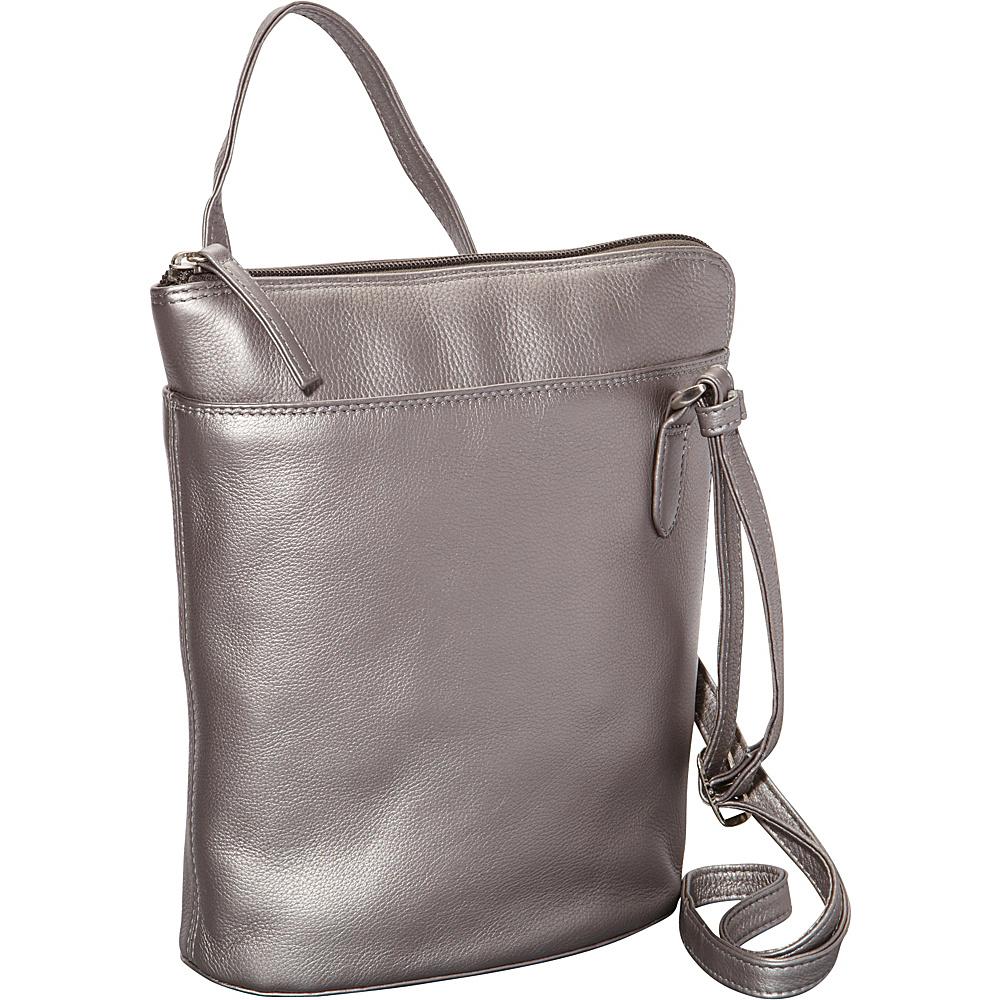 Derek Alexander Slim North South w/ Two Sided Zip Silver - Derek Alexander Leather Handbags - Handbags, Leather Handbags
