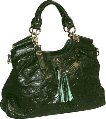 Buxton Fiona Satchel Green (GR) - Buxton Leather Handbags