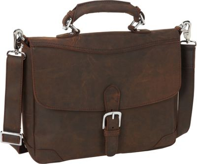 Vagabond Traveler 15 inch Cowhide Fine Leather Messenger Bag with Clasp Lock Vintage Distress - Vagabond Traveler Messenger Bags