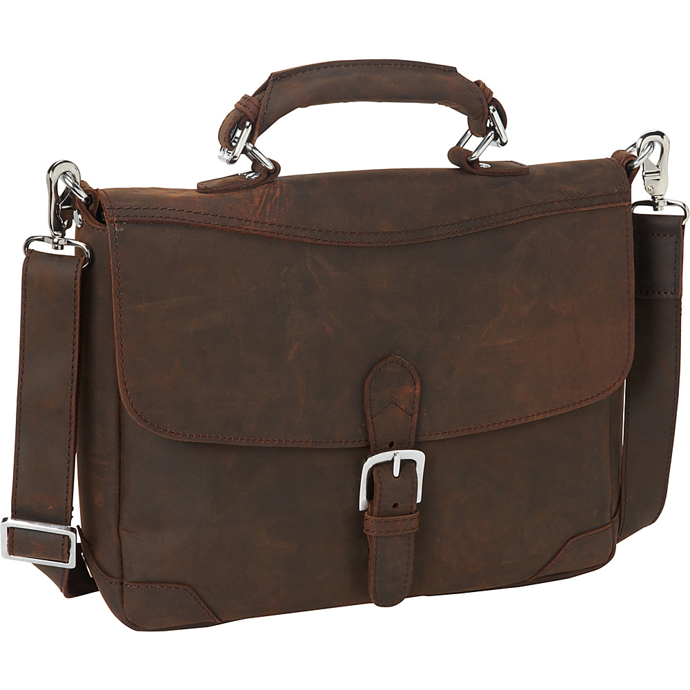 Vagabond Traveler 15 Cowhide Fine Leather Messenger Bag with Clasp Lock Vintage Distress - Vagabond Traveler Messenger Bags - Work Bags & Briefcases, Messenger Bags