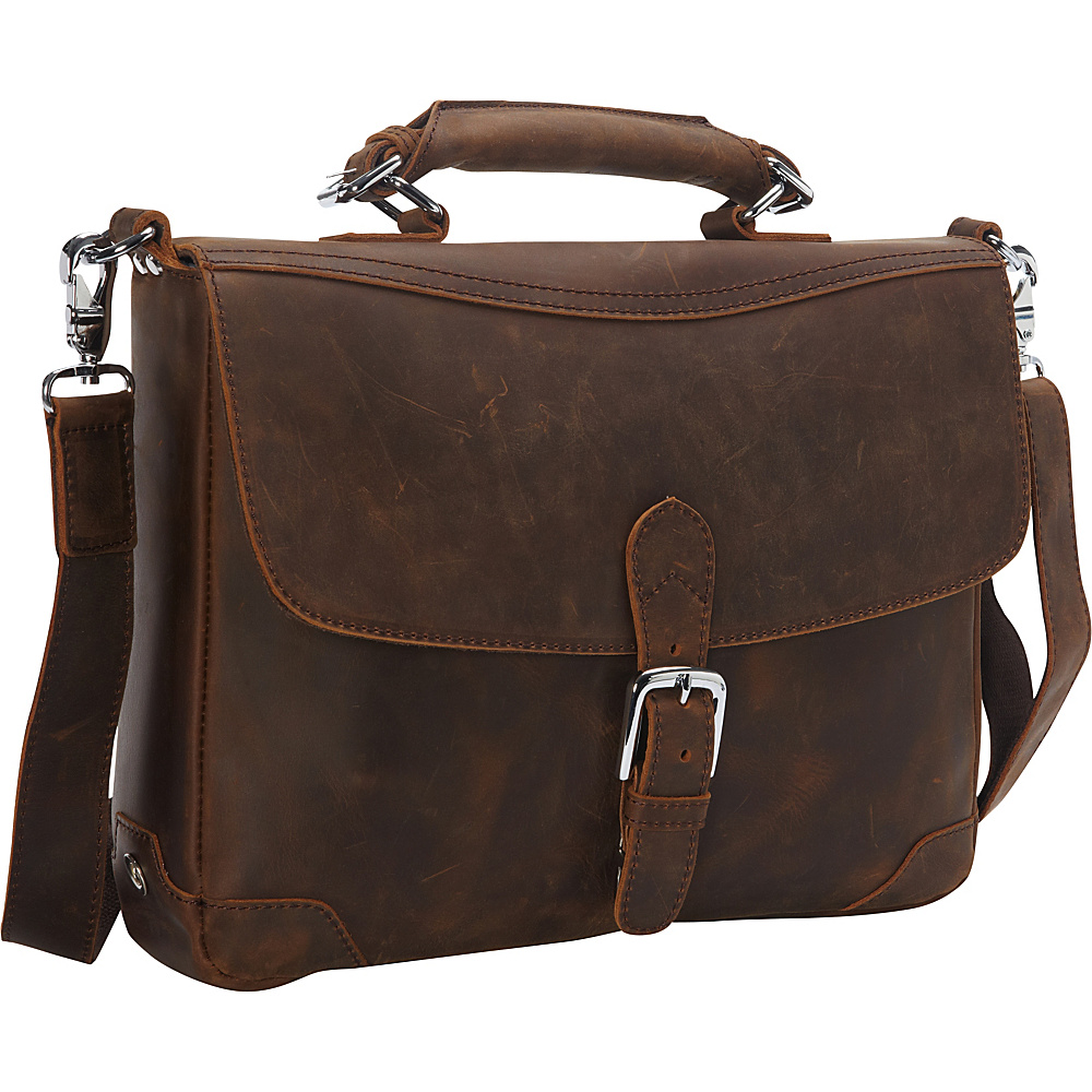 Vagabond Traveler 15 Cowhide Fine Leather Messenger Bag with Clasp Lock Vintage Brown - Vagabond Traveler Messenger Bags - Work Bags & Briefcases, Messenger Bags