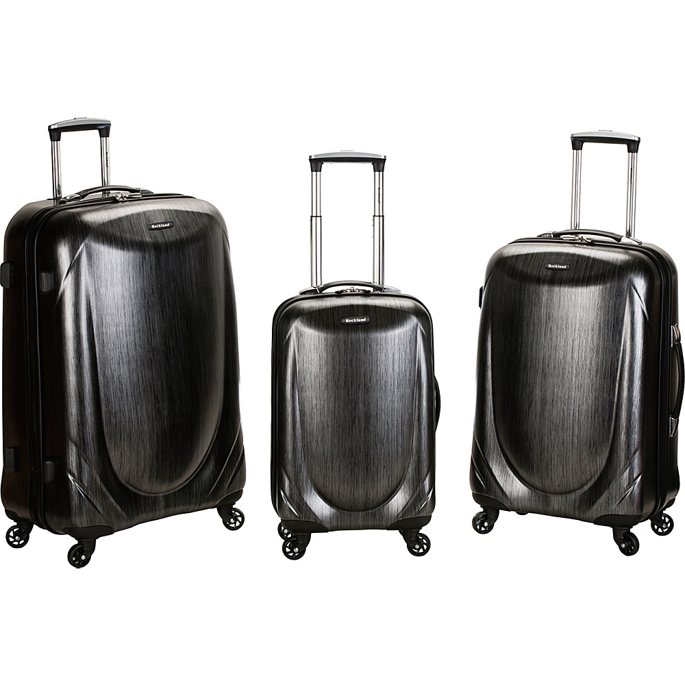 Rockland Luggage Hyperspace 3 Pc Polycarbonate Spinner Luggage Set Gray Rockland Luggage Luggage Sets