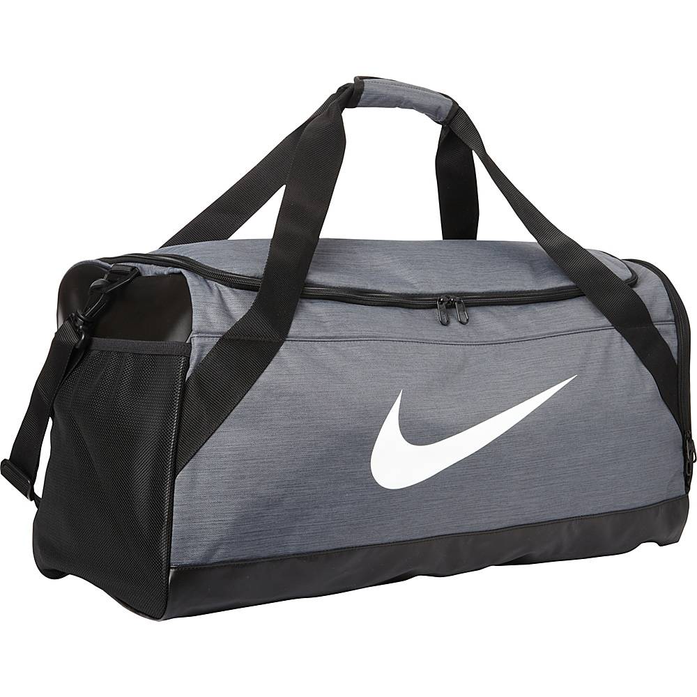 Nike Brasilia 6 Large Duffel Flint Grey Black White Nike Gym Duffels