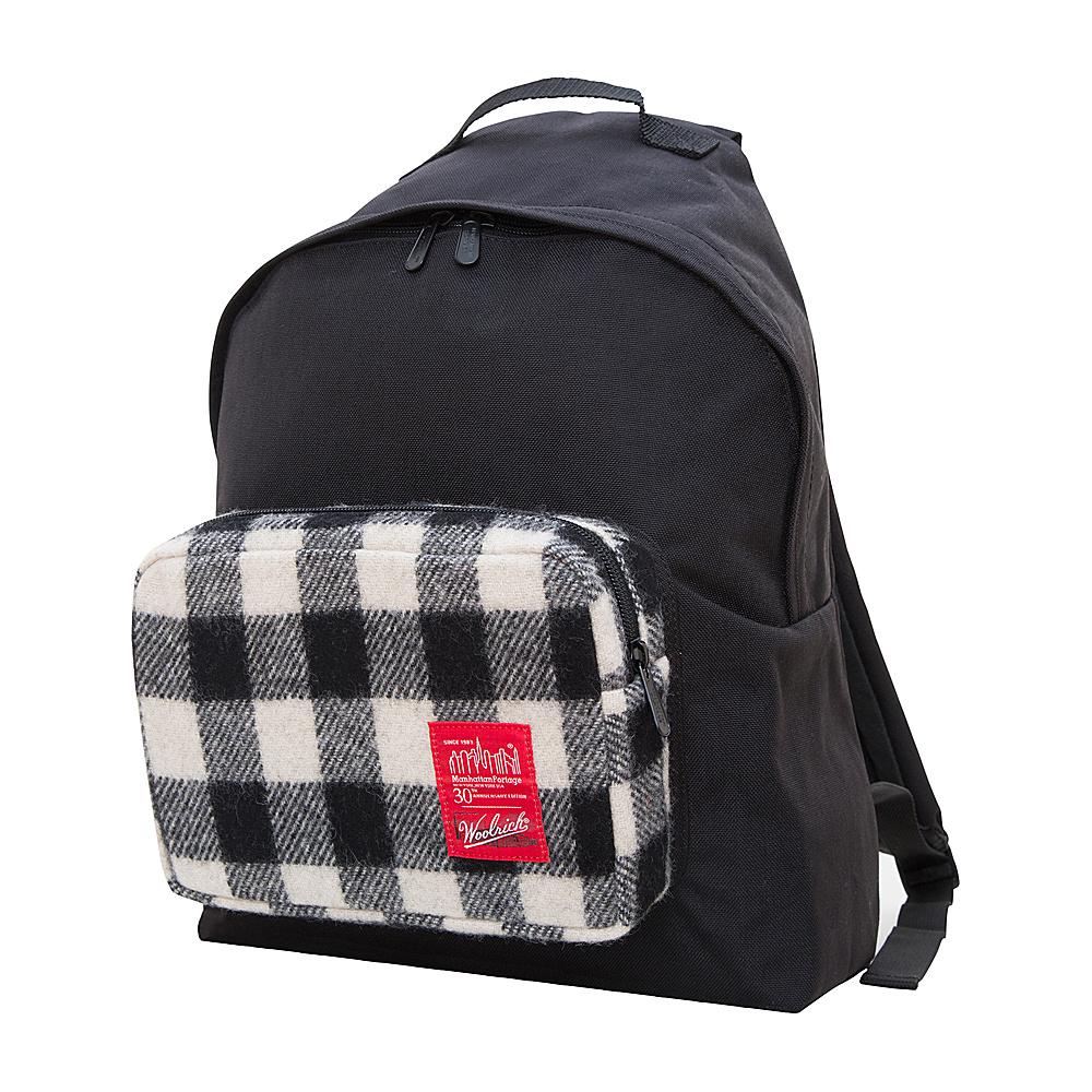 Manhattan Portage X Woolrich Big Apple Backpack (MD) Buffalo Check White/Black - Manhattan Portage Everyday Backpacks