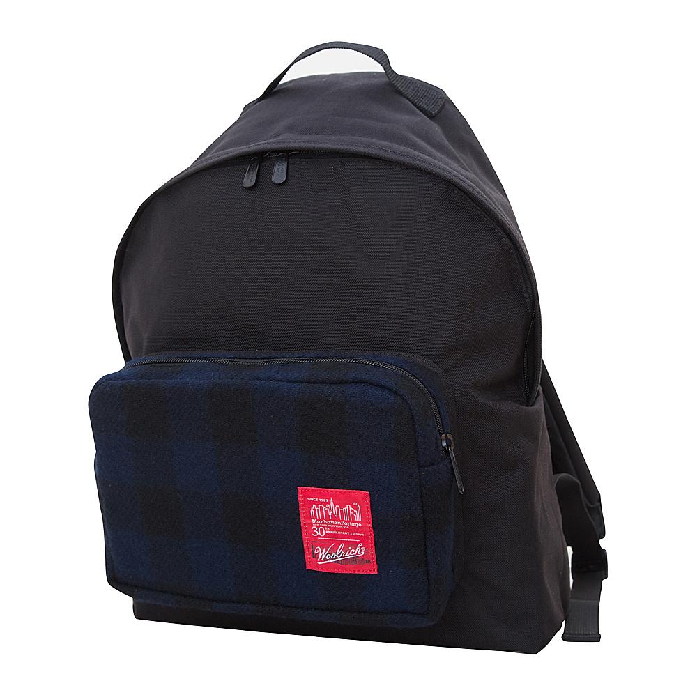 Manhattan Portage X Woolrich Big Apple Backpack (MD) Buffalo Check Navy/Black - Manhattan Portage Everyday Backpacks