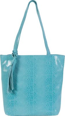 BUCO North South Iguana Tote Aqua - BUCO Leather Handbags