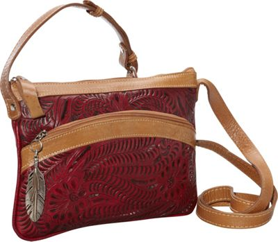 American West Feather Crossbody Pouch Tan/Pomegranate - American West Leather Handbags