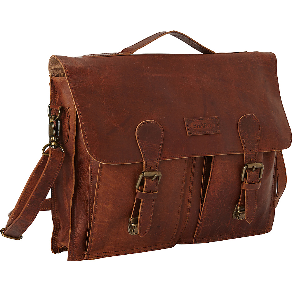 Sharo Leather Bags Soft Leather Laptop Messenger Bag and Brief Dark Brown Sharo Leather Bags Messenger Bags