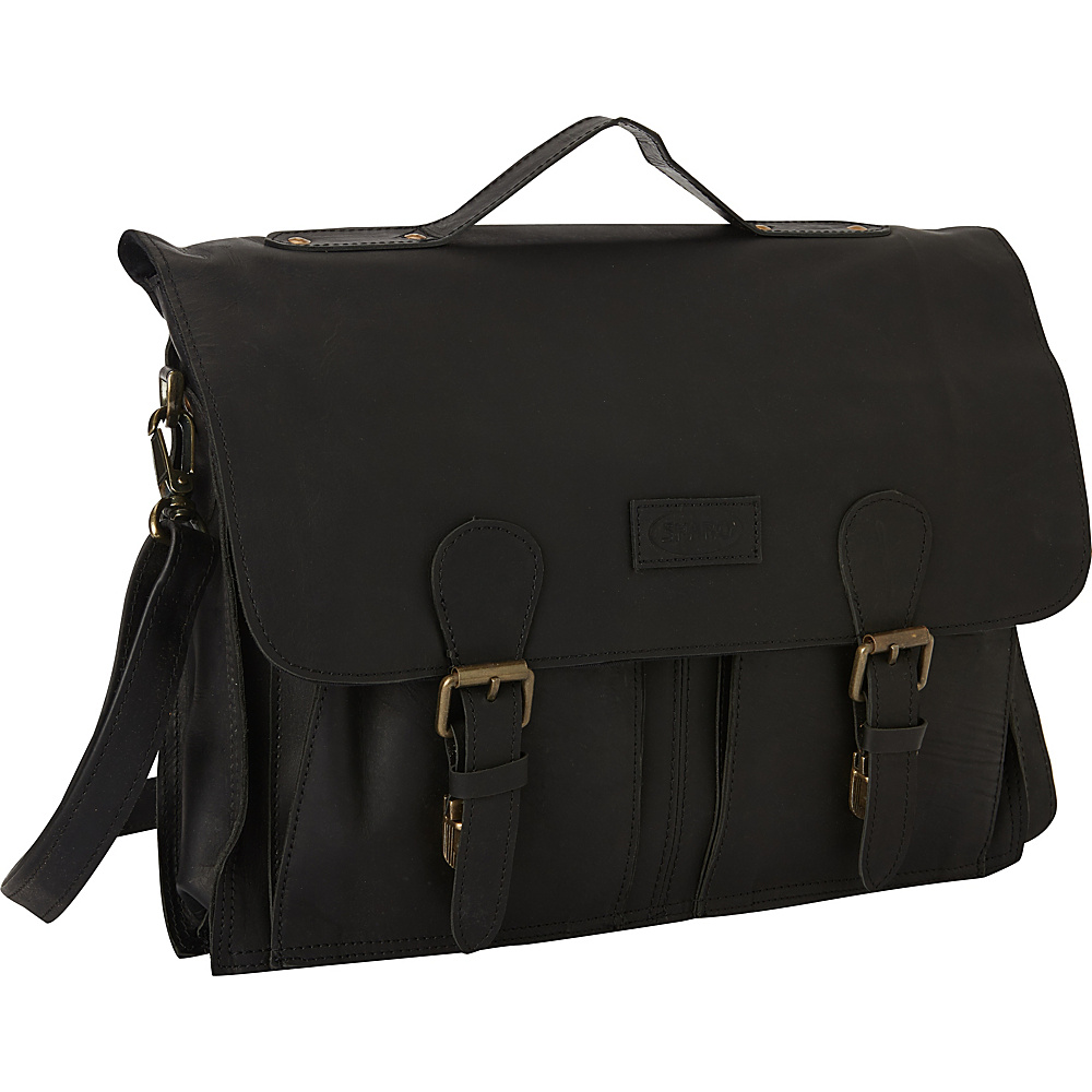 Sharo Leather Bags Soft Leather Laptop Messenger Bag and Brief Black Sharo Leather Bags Messenger Bags