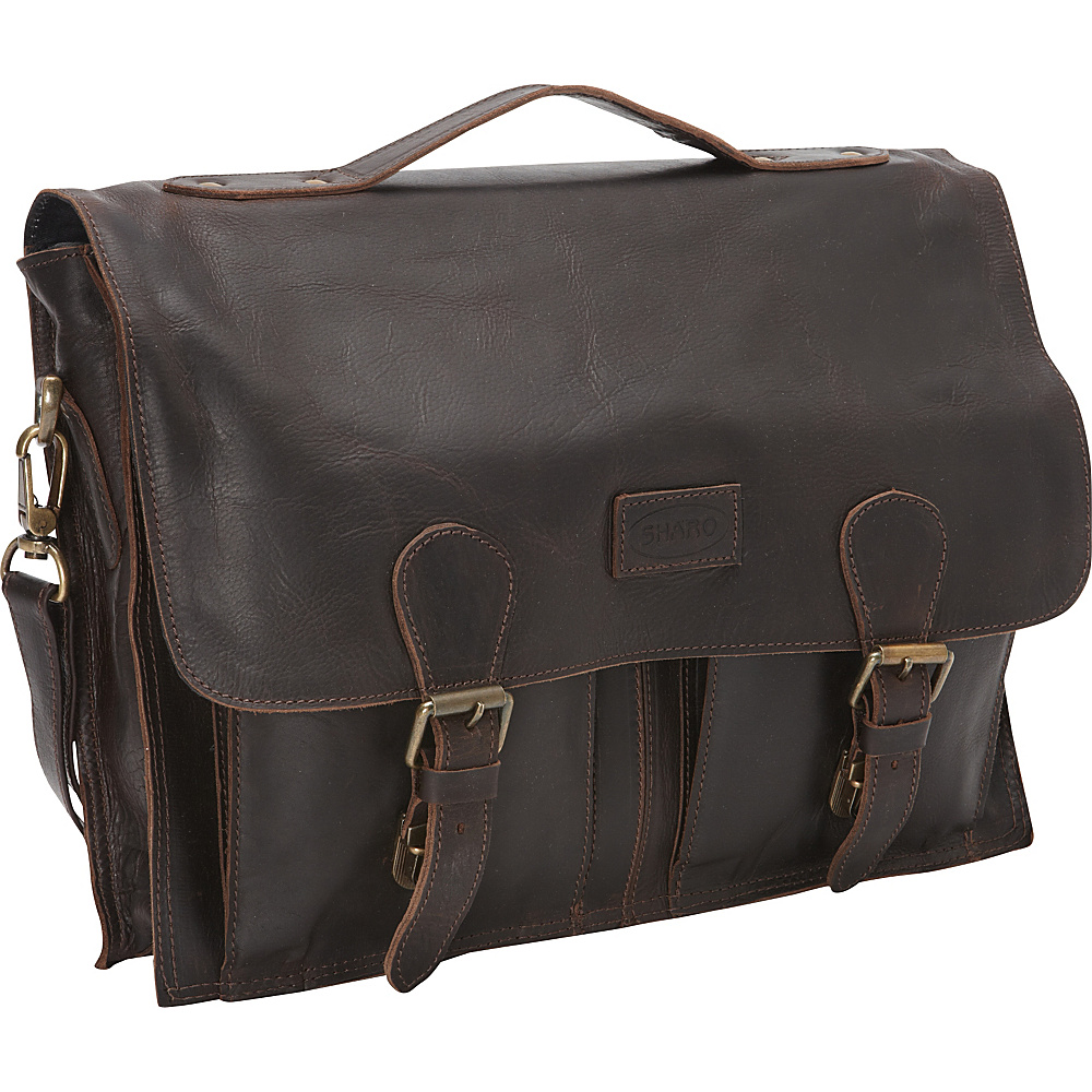Sharo Leather Bags Soft Leather Laptop Messenger Bag and Brief Dark Chocolate Brown Sharo Leather Bags Messenger Bags