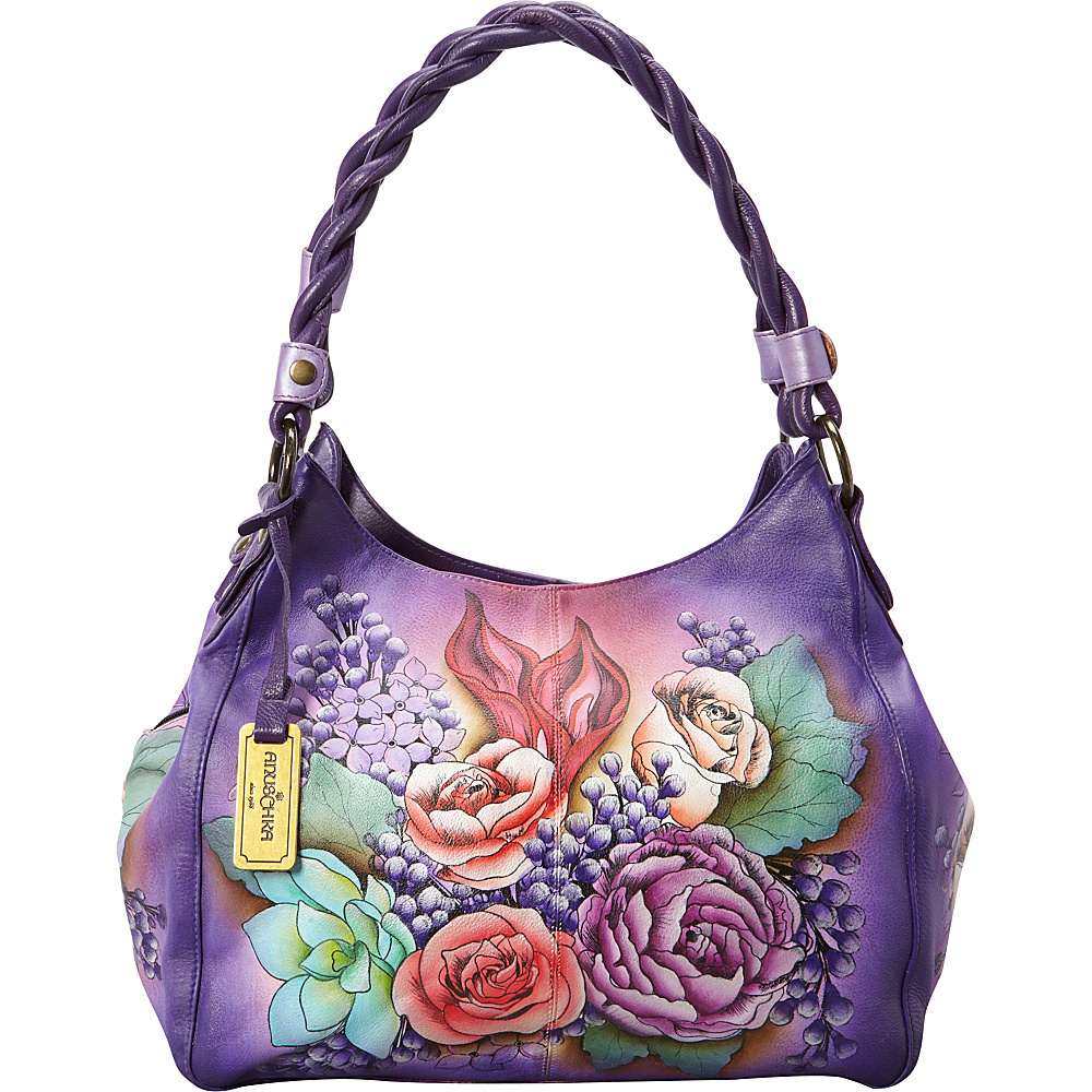 Anuschka Triple Compartment Shopper With Braided Handle Shoulder Bag Lush Lilac - Anuschka Leather Handbags