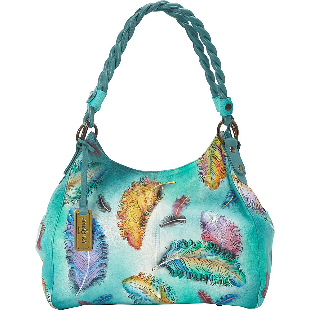 aef2e65637 Anuschka Triple Compartment Shopper With Braided Handle Shoulder Bag  Floating Feathers - Anuschka Leather Handbags - 10414482 by Anuschka