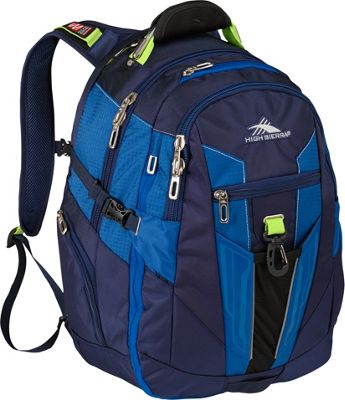 High Sierra XBT Laptop Backpack True Navy, Royal Cobalt, Chartreuse - High Sierra Business & Laptop Backpacks