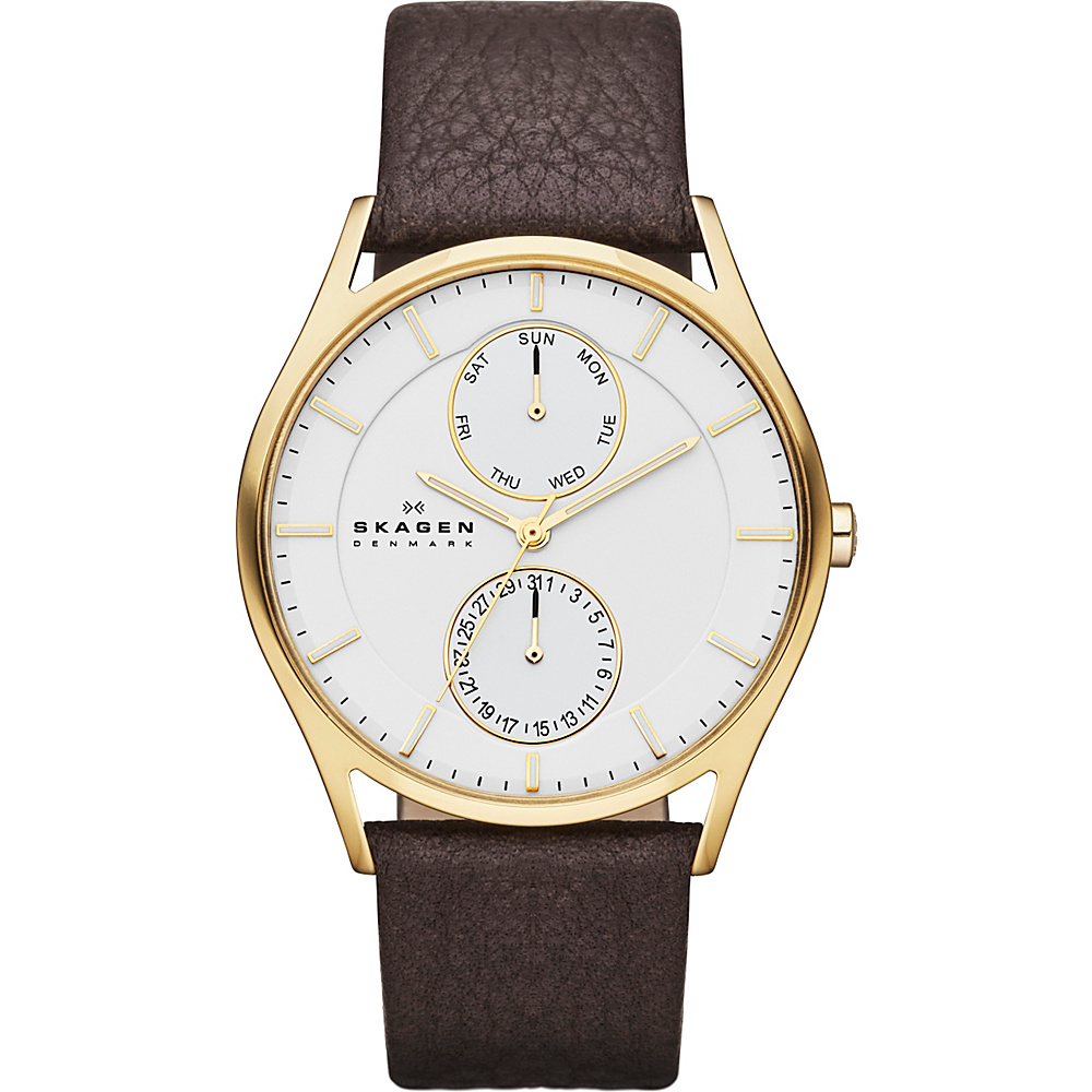 Skagen Klassik Mens Multifunction Three Hand Leather Watch Dark Brown with gold Skagen Watches