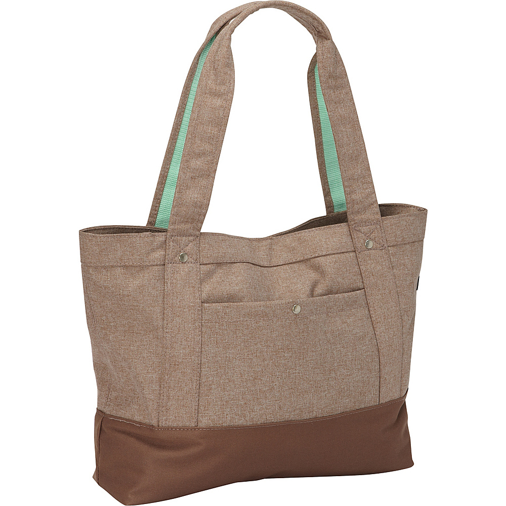 Everest Stylish Tablet Tote Bag Tan/Dark Brown - Everest Fabric Handbags - Handbags, Fabric Handbags
