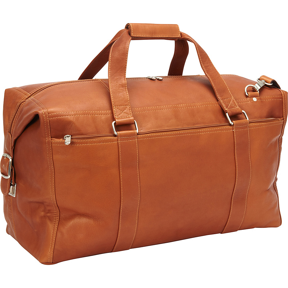 Piel Extra Large Zip-Pocket Duffel Saddle - Piel Rolling Duffels - Luggage, Rolling Duffels