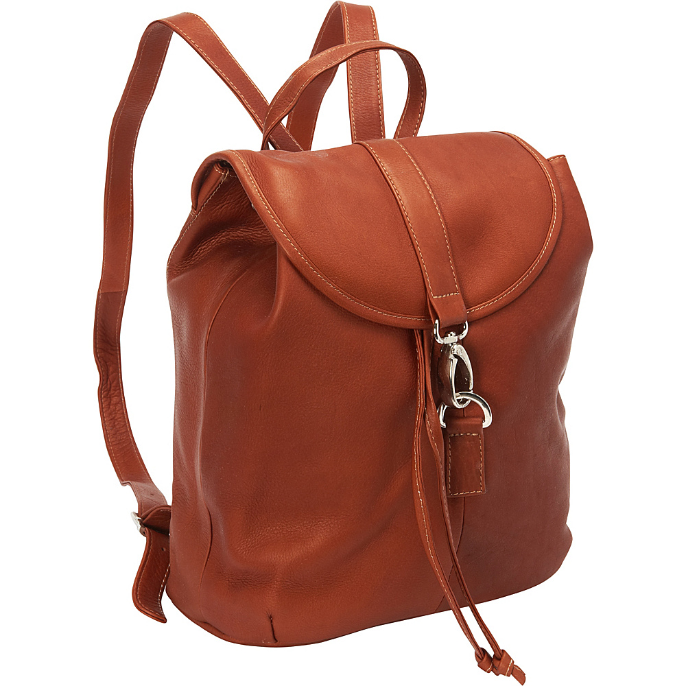 Piel Medium Drawstring Backpack Saddle - Piel Leather Handbags - Handbags, Leather Handbags