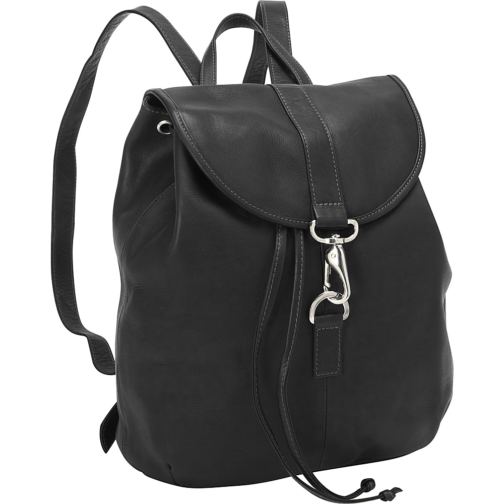 Piel Medium Drawstring Backpack Black - Piel Leather Handbags