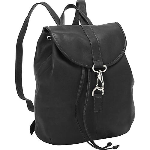 Piel Medium Drawstring Backpack Black - Piel Leather Handbags
