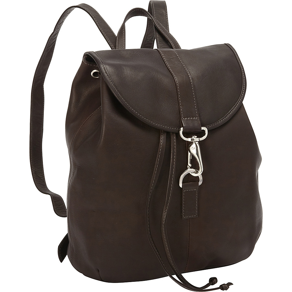 Piel Medium Drawstring Backpack Chocolate - Piel Leather Handbags - Handbags, Leather Handbags