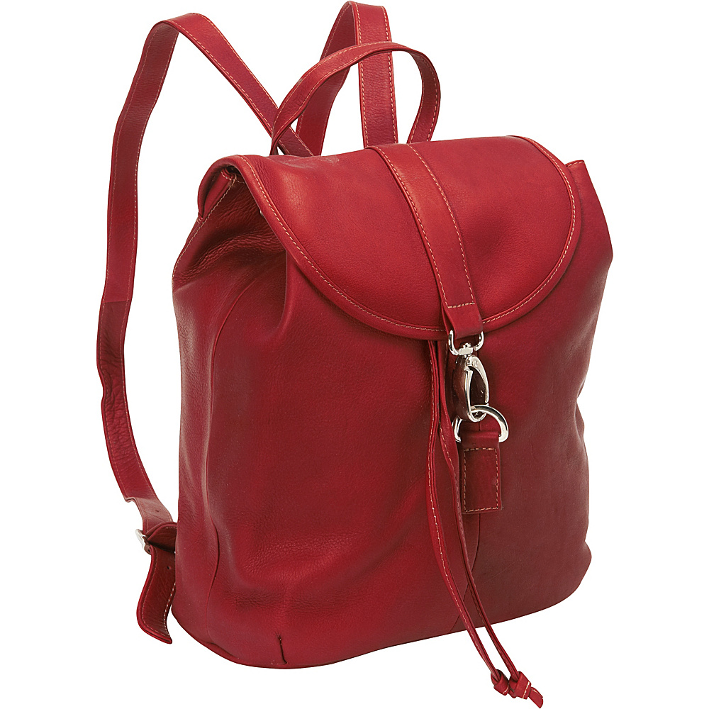 Piel Medium Drawstring Backpack Red - Piel Leather Handbags