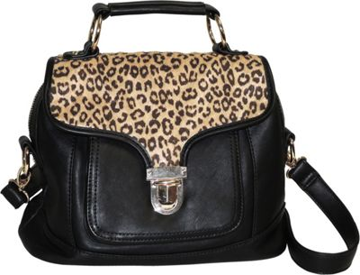Image of Adrienne Landau Cheetah Print Front Pocket Satchel Black - Adrienne Landau Leather Handbags